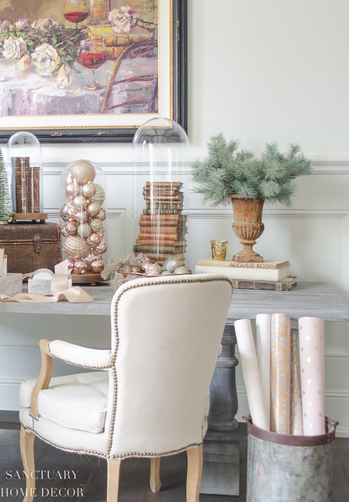 christmas decorating with blush rose gold and copper