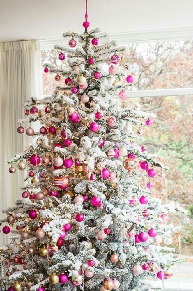 SHADES OF PINK FLOCKED CHRISTMAS TREE