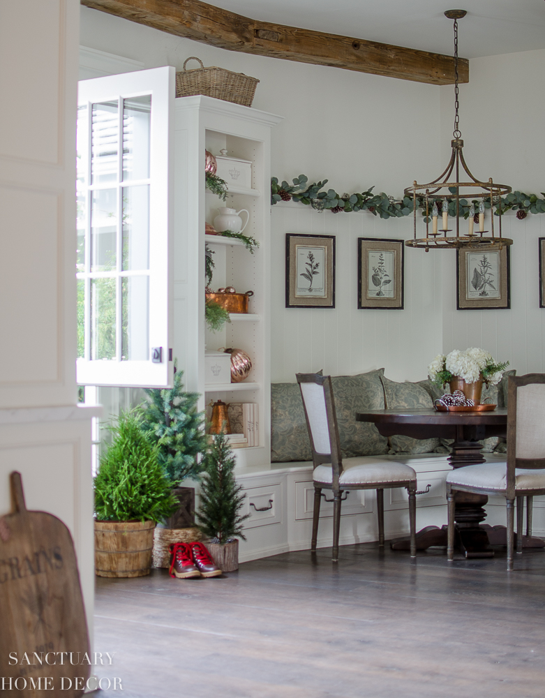 Stay tuned for that coming soon, but in the meantime, here's a peek at our kitchen and breakfast nook with some simple greenery, pinecones and all of my ...