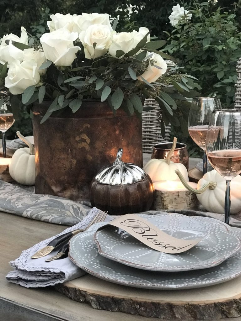 Fall table setting with copper accents