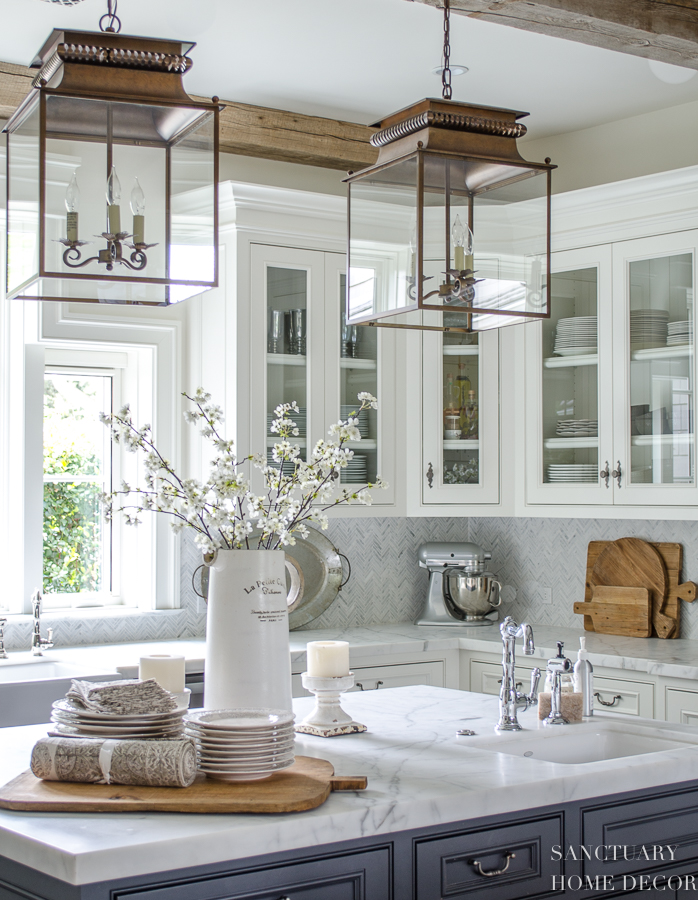 Cabinets Are Painted Benjamin Moore Swiss Coffee Center Island Is Restoration Hardware Flint