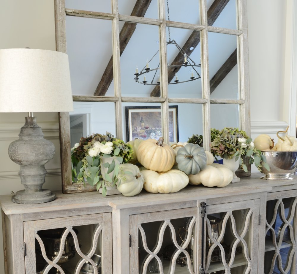 I Found A Few Large White Pumpkins So I Mixed Them With My Favorite Faux  Pumpkins For A Pretty Styling On This Console In Our Living Room.