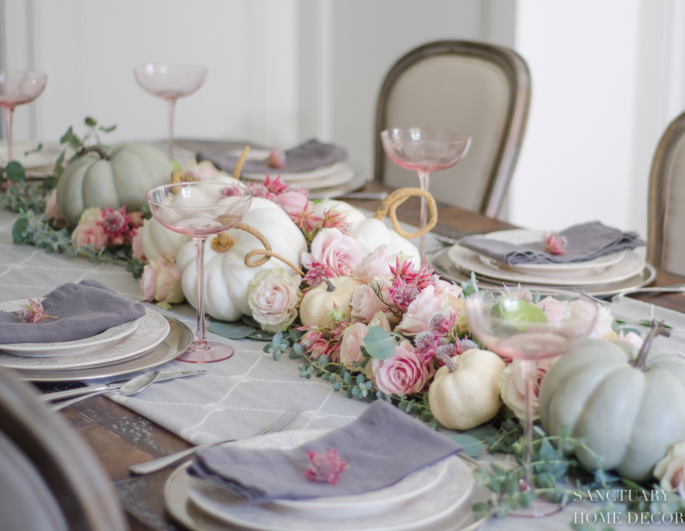 Pastel Fall Tablescape Pink Green White 2 Jpg