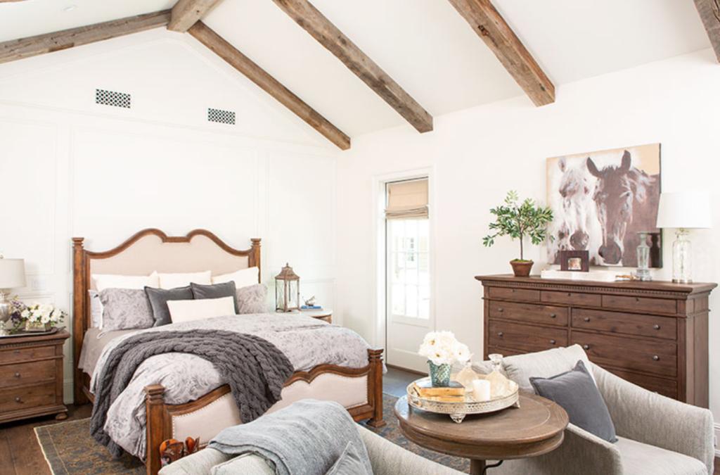 Master Bedroom with wood beams.
