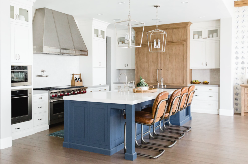 ... a statement and this beautiful kitchen from DESIGN 4 CORNERS does just that! The bright pop of color contrasted with the super clean white cabinets, ...