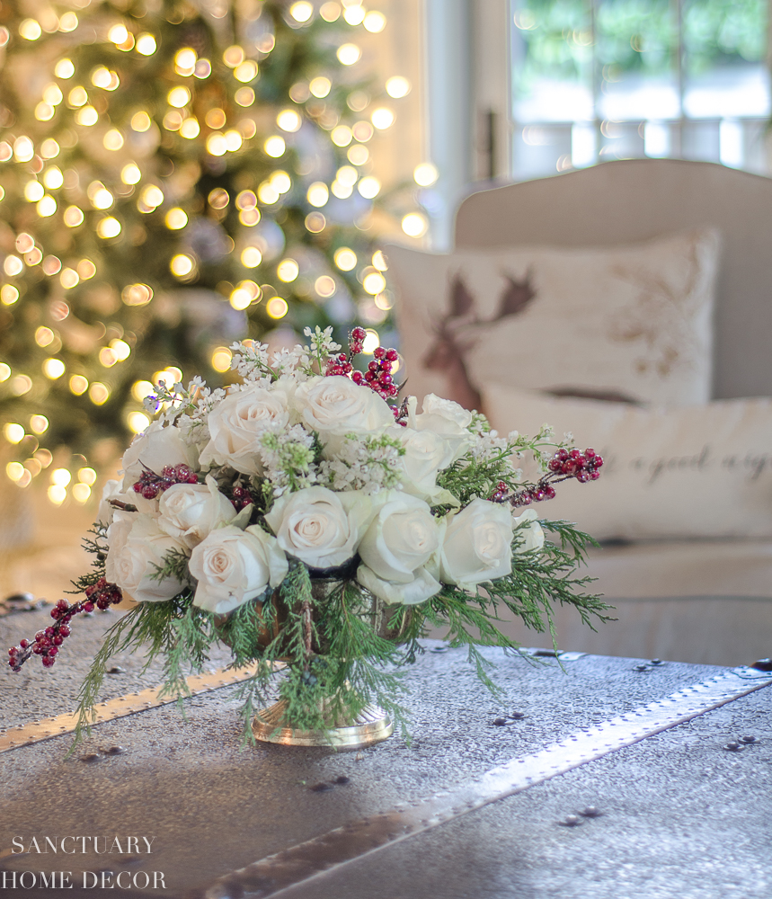 Christmas Greenery Centerpieces.An Easy Diy White Rose And Pine Winter Centerpiece