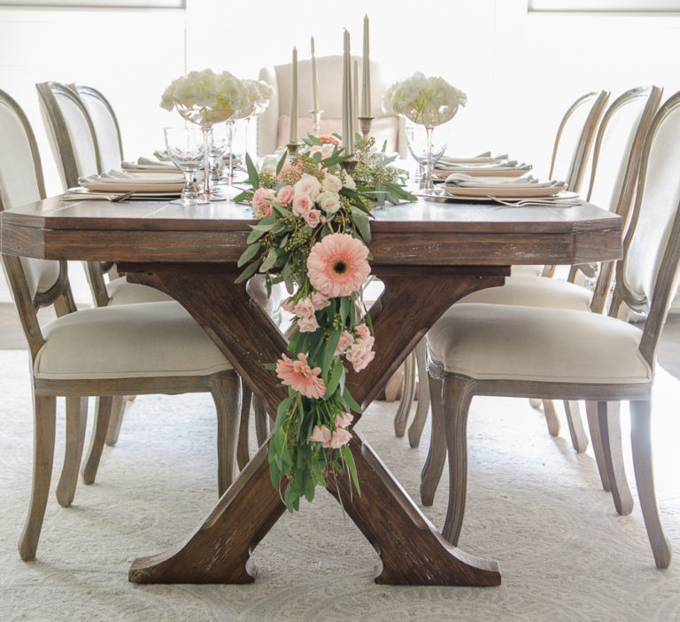 A Whimsical Pink and White Table Setting