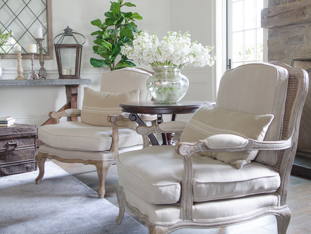 Light and Bright family room refresh in 5 easy steps-French Linen chairs
