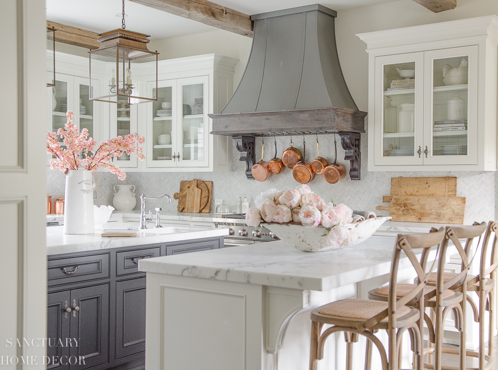 White kitchen with glass cabinets and dark center island- farmhouse kitchen-cottage kitchen-french country kitchen-Spring Decorating