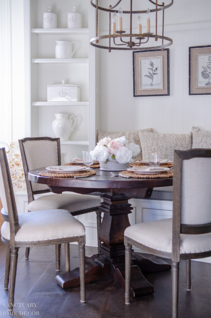 I Also Restyled The Shelves In My Breakfast Nook With All White Pottery To Match Kitchen