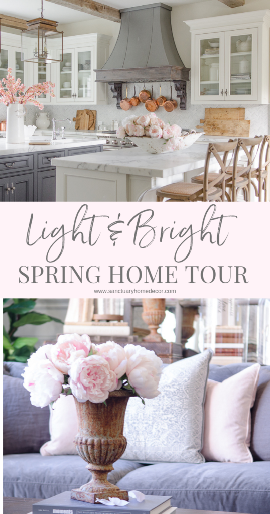 Light and Bright Spring Home Tour with blush pink and white accent colors.