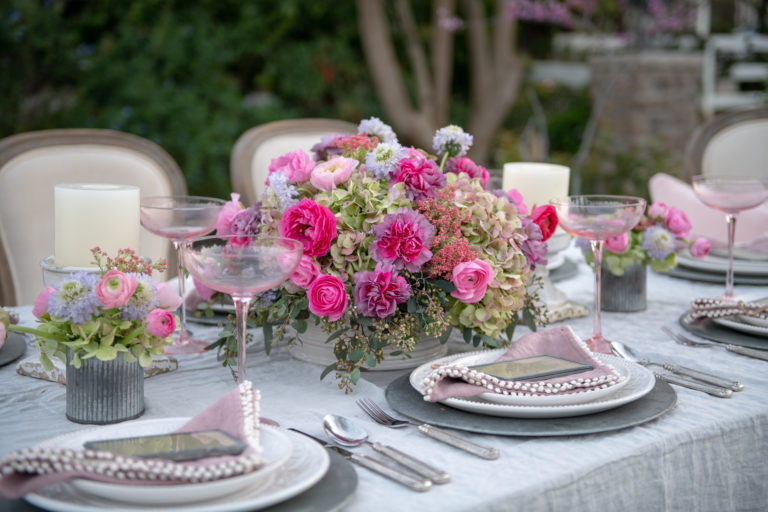 Pretty in Pink Spring Tablescape in the Garden