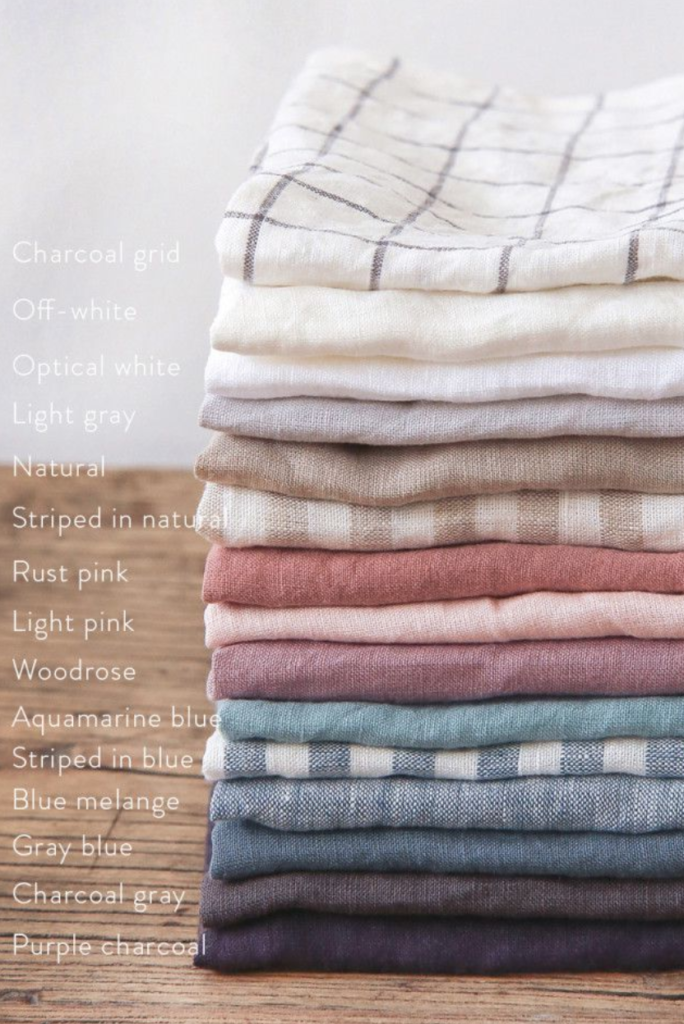 Linen tablecloths, bedding, napkins, draperies
