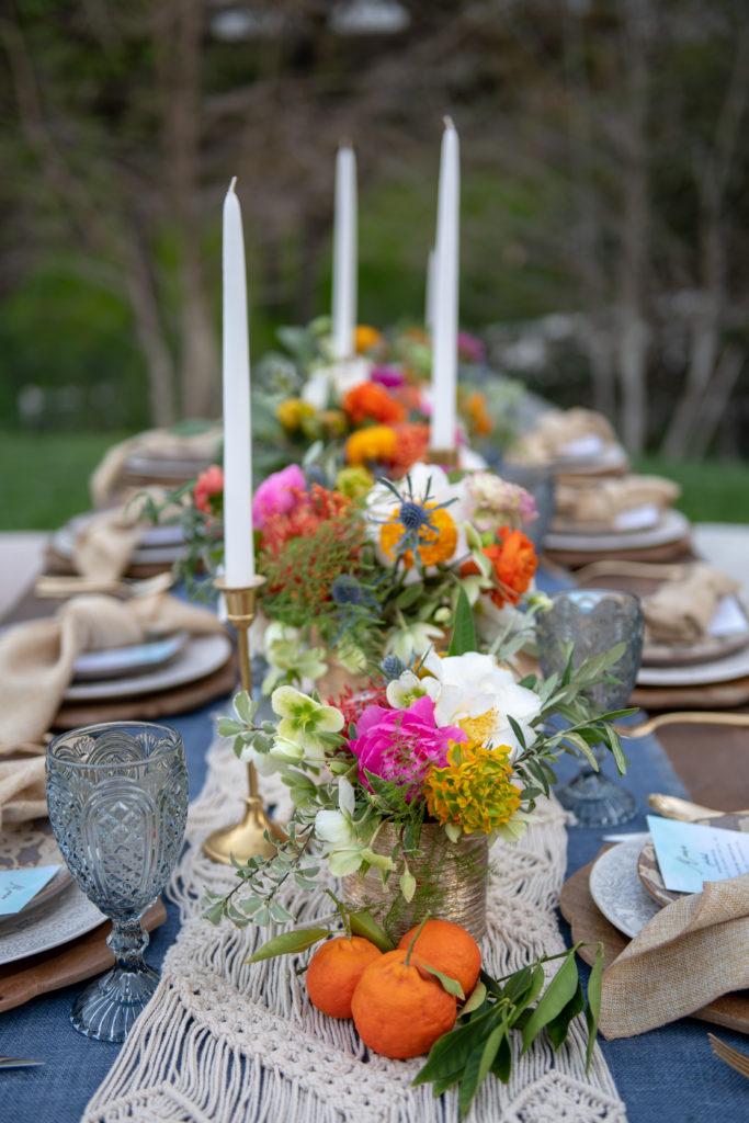 Bohemian table setting - Floral design-Colorful florals-Bohemian florals