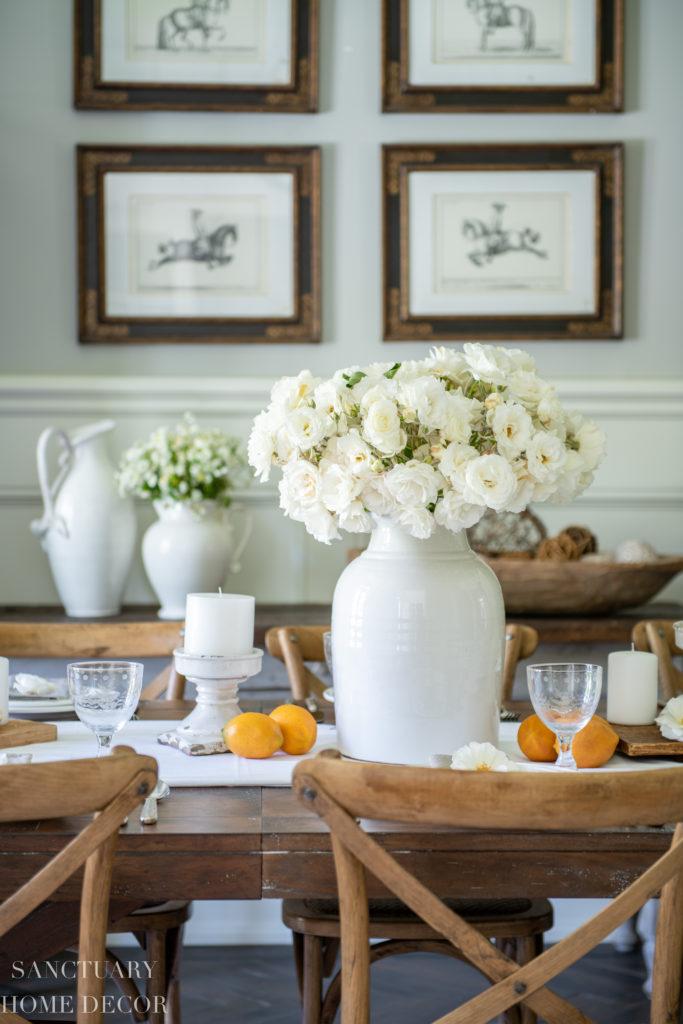 A Fresh White Farmhouse Table Setting-White garden roses