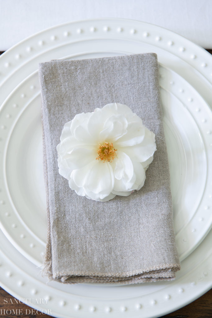 Summer Dining Room Update: A Fresh White Table Setting-White dishes