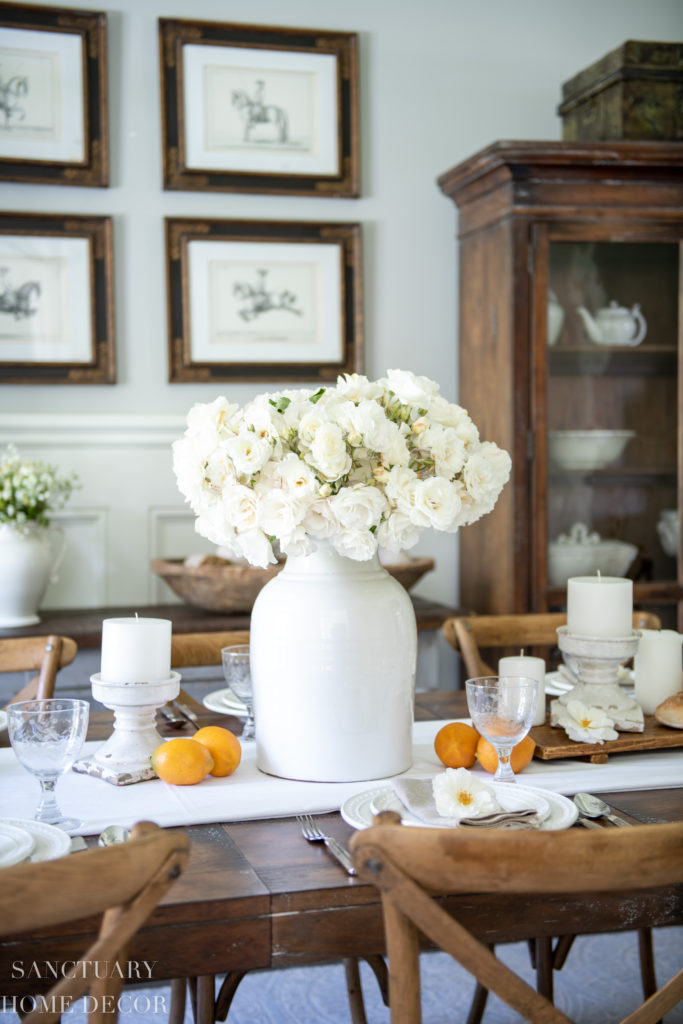 Summer Dining Room Update A Fresh White Table Setting Sanctuary Home Decor