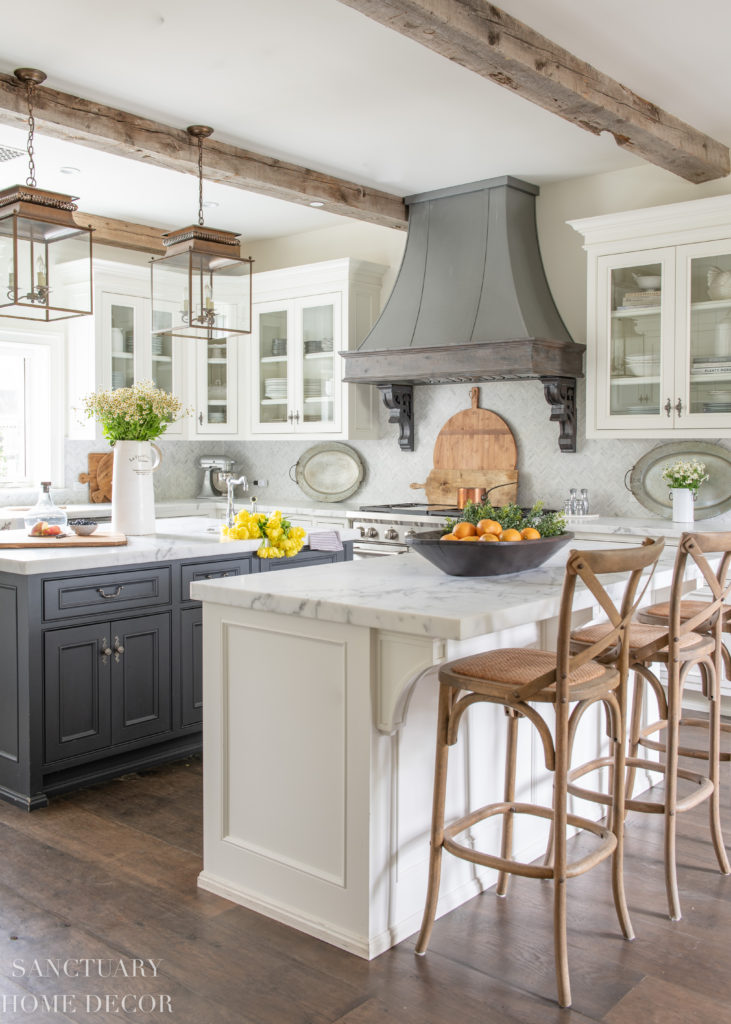 Summer Home Tour with Yellow and white decor accents-County Kitchen-White cabinets-Range hood