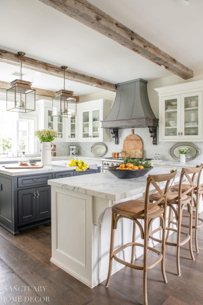 White kitchen with glass cabinets and dark center island- farmhouse kitchen-cottage kitchen-french country kitchen-Summer decorating