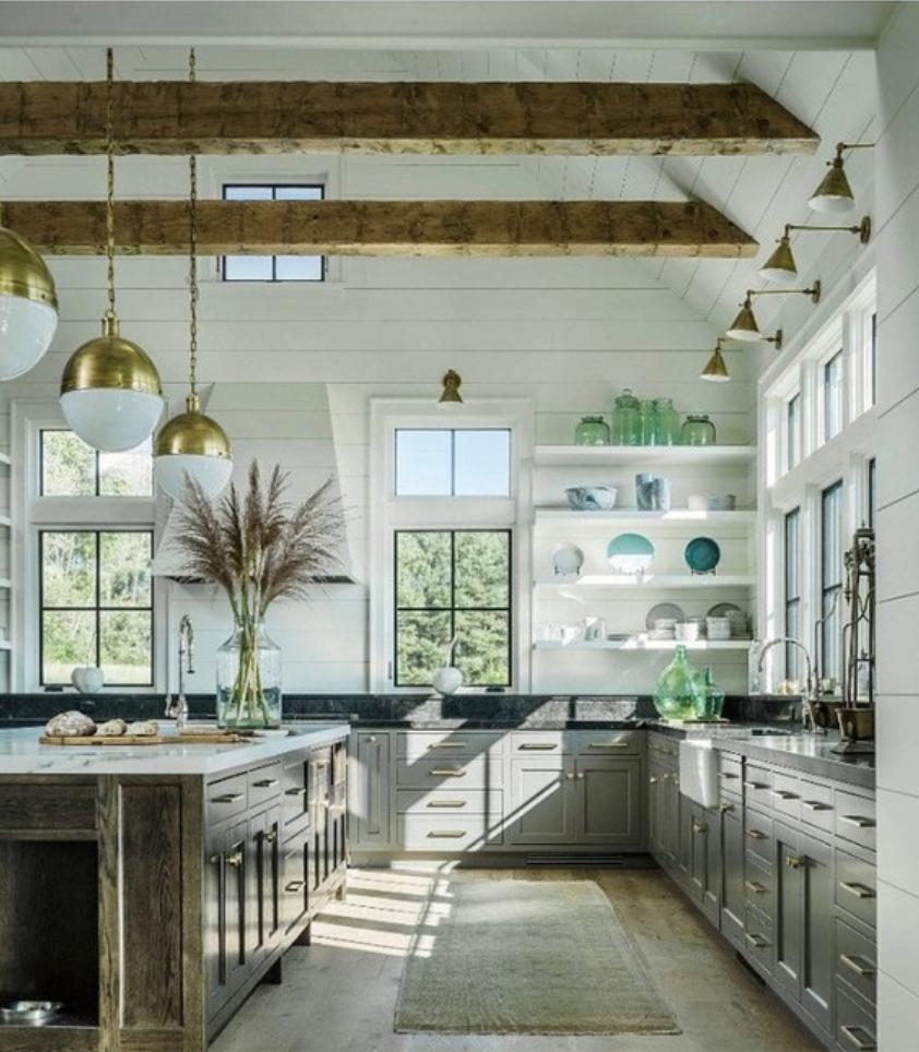 Modern Farmhouse Kitchen with drop beams