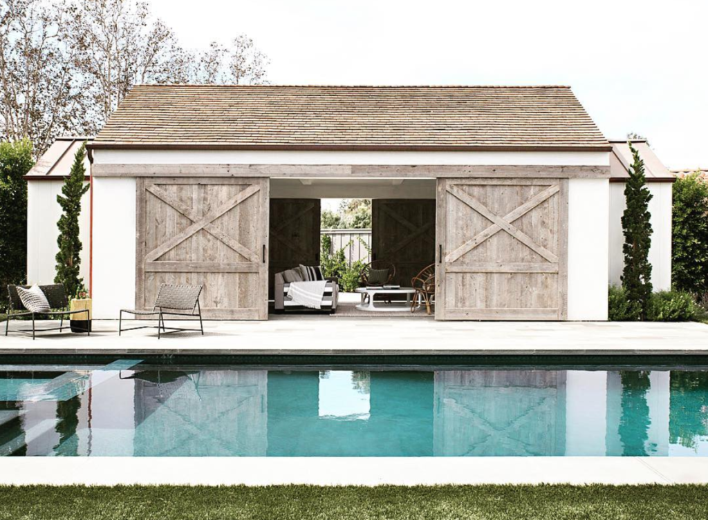Modern Farmhouse Exterior with Wood Shutters