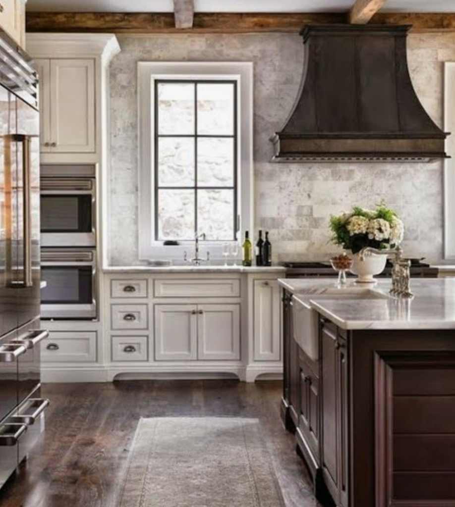 Modern Farmhouse Kitchen with zinc range hood