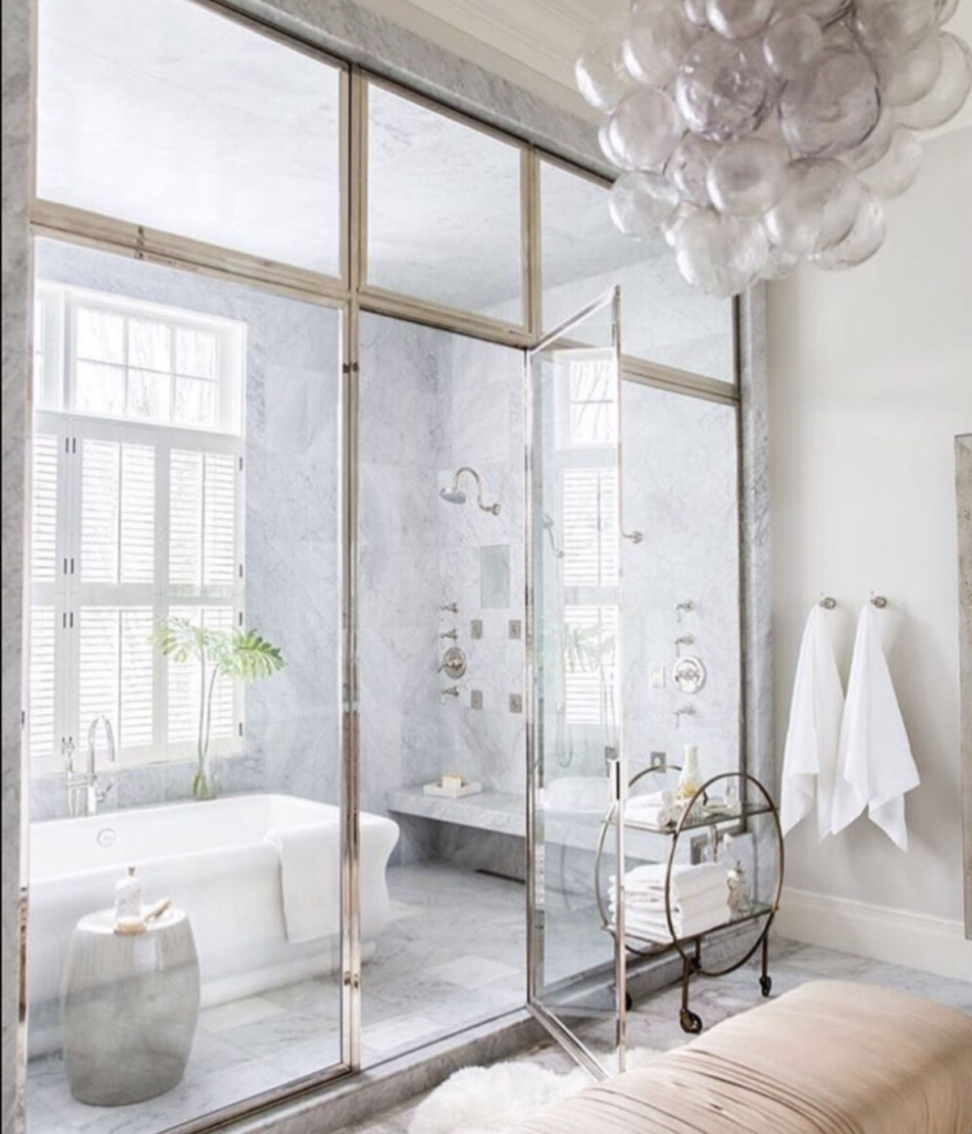 Modern farmhouse  master bath with wet room