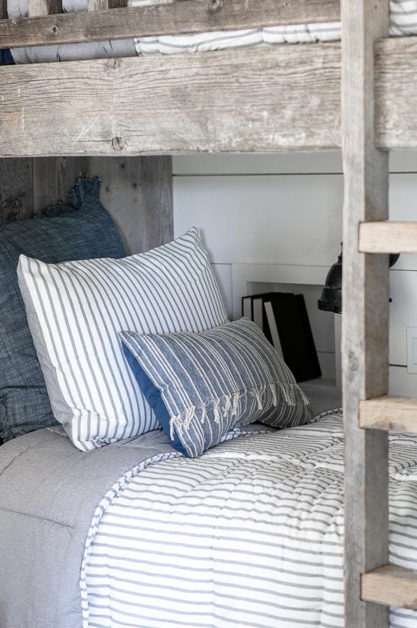 Barn wood Bunk beds with Walmart bedding
