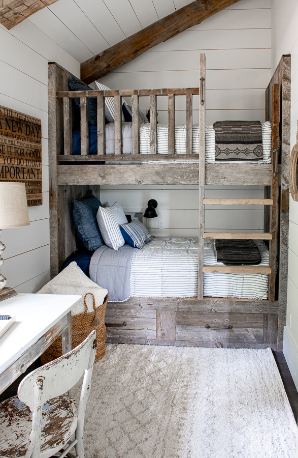 Kids Bunk Room with reclaimed wood bunk beds and shiplap.