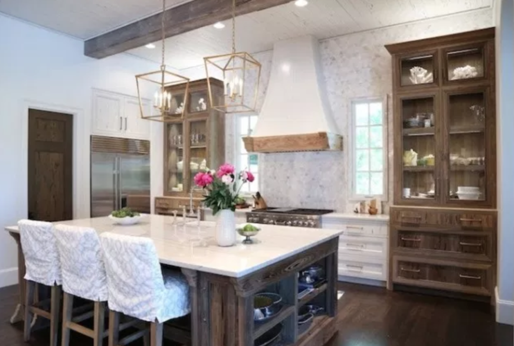 Modern Farmhouse Kitchen with reclaimed wood cabinets