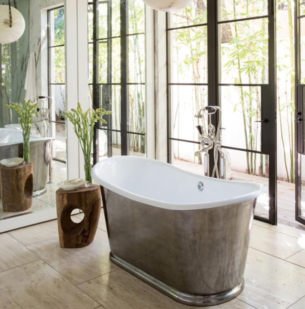Modern farmhouse  master bath with polished nickel tub
