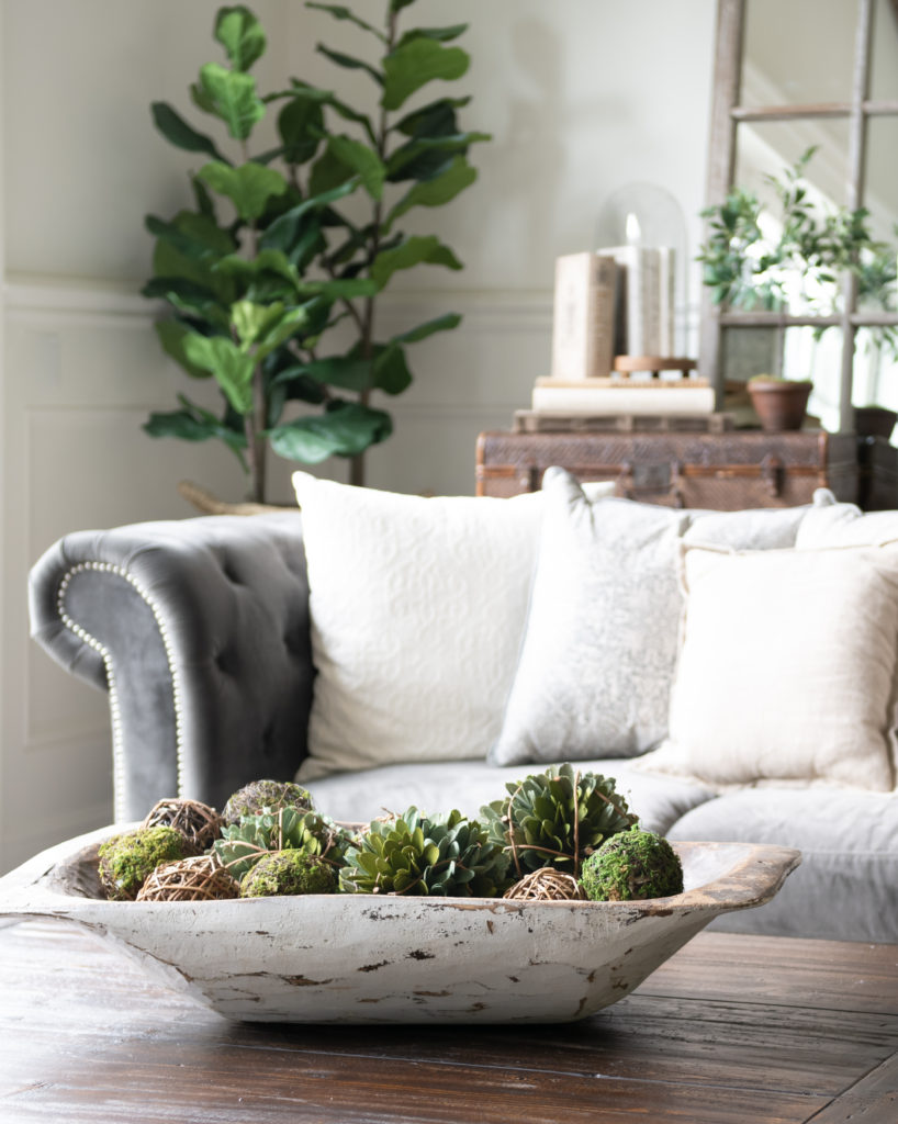 5 Minute Fall Decorating Tips-dough bowl filled with mossy spheres and greenery