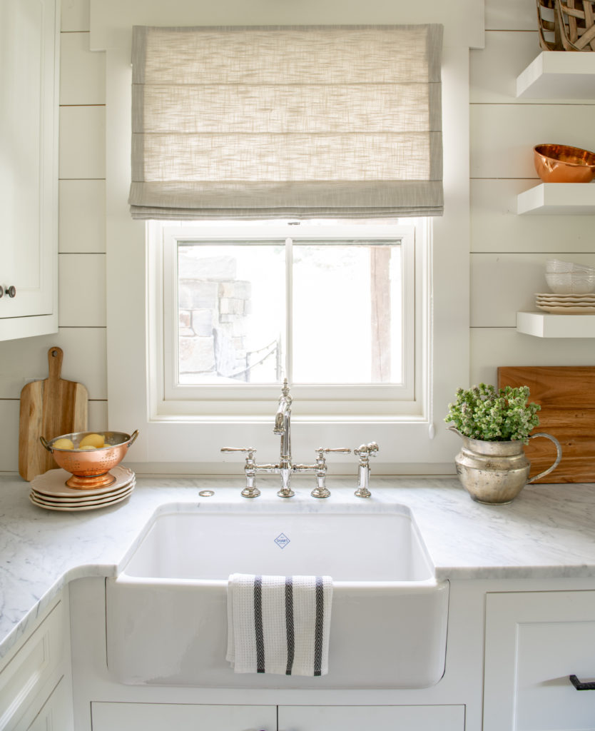 Farmhouse Kitchen sink-White marble countertops-Smith and Noble fabric window shade