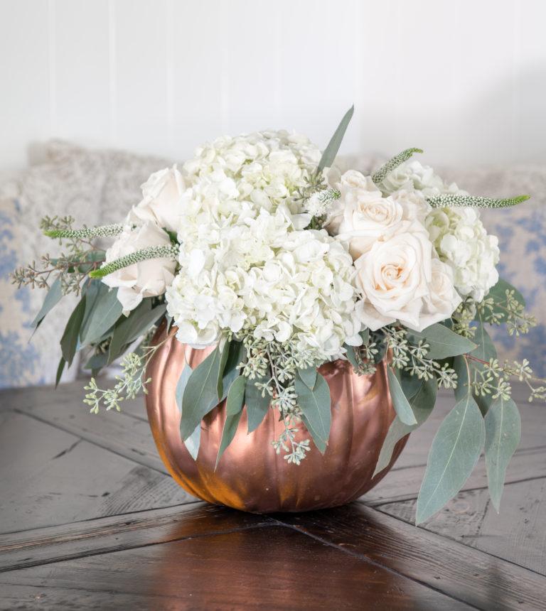 DIY Pumpkin Centerpiece with Fresh Flowers