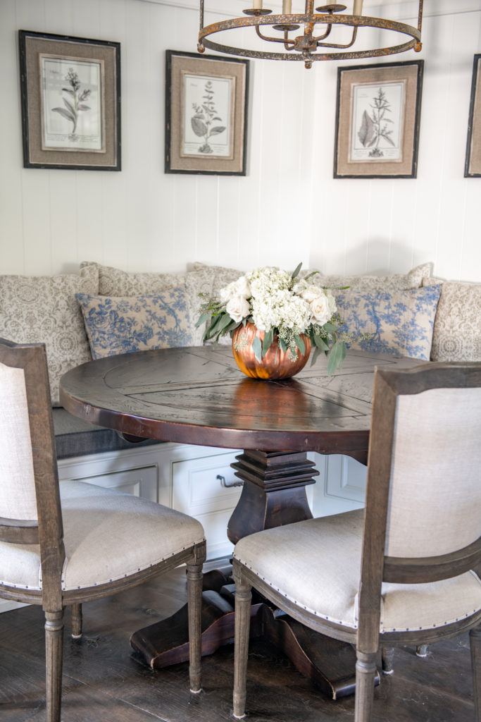 Breakfast nook with fall centerpiece