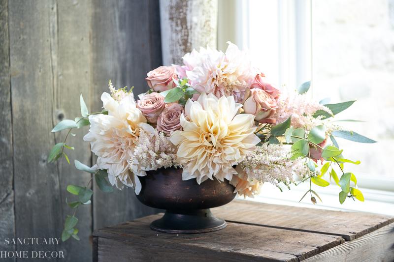 Cafe au lait dailias-fall flower arrangement