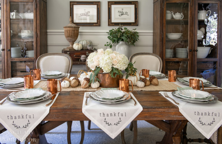 Traditional Thanksgiving Table With Copper and White Accents