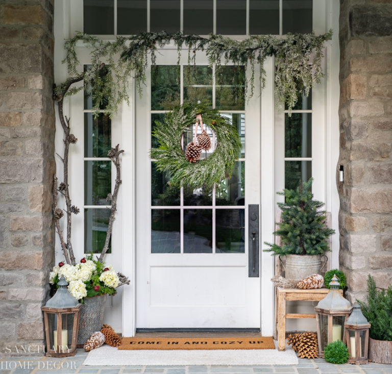 Neutral Christmas Front Porch Decor