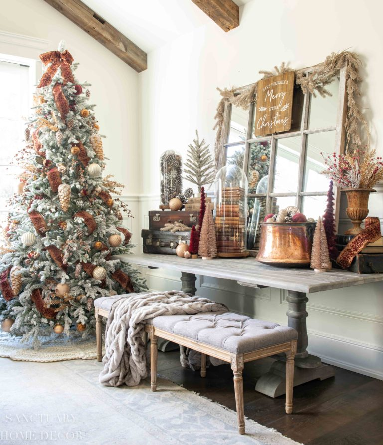 Christmas Decorating Ideas in Copper + Burgundy