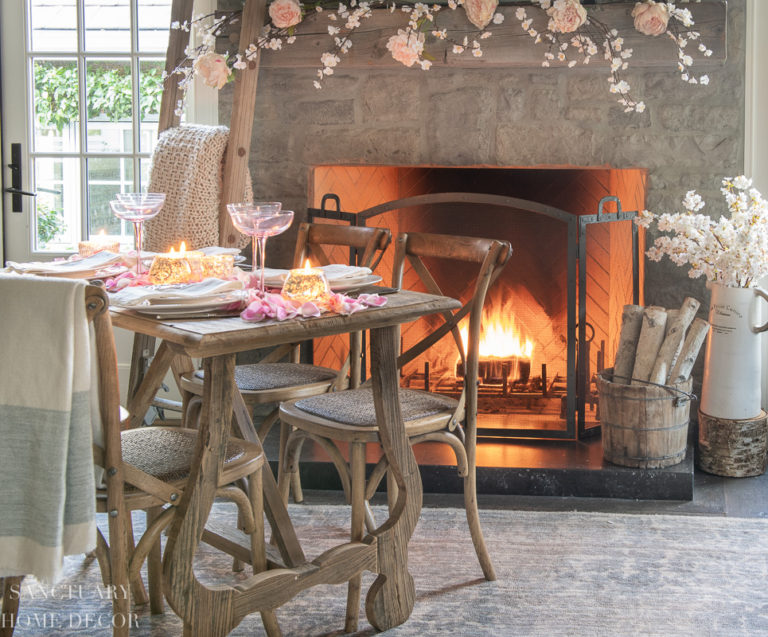 Romantic Fireside Valentine's Day Table Setting