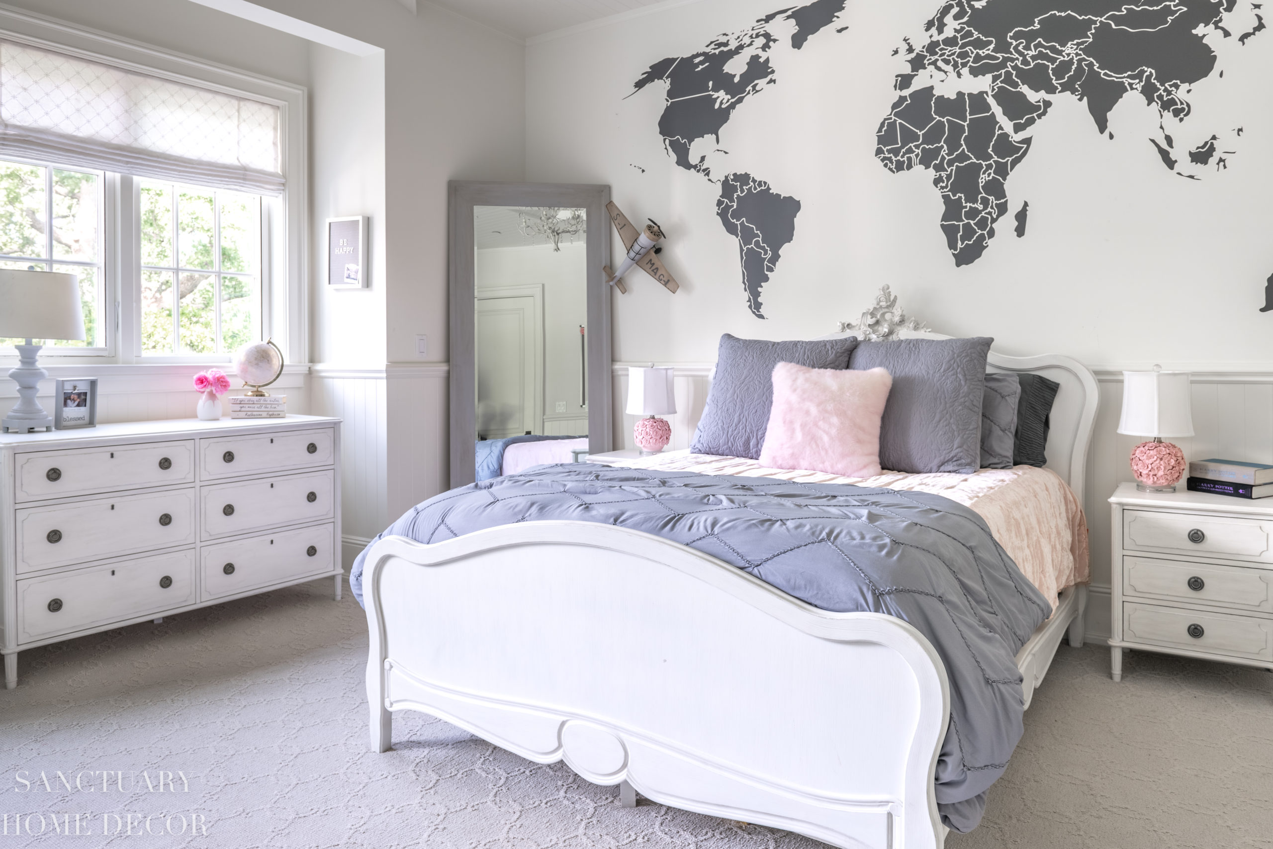 Pink and Gray Teen Bedroom Reveal - Sanctuary Home Decor on Teenage Bed  id=80627